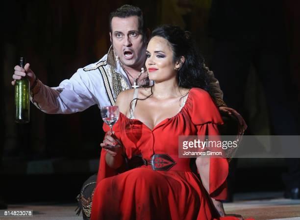 Gaelle Arquez as Carmen and Scott Hendricks as Escamillo perform during the rehearsal of the opera 'Carmen' prior the Bregenz Festival on July 14,...