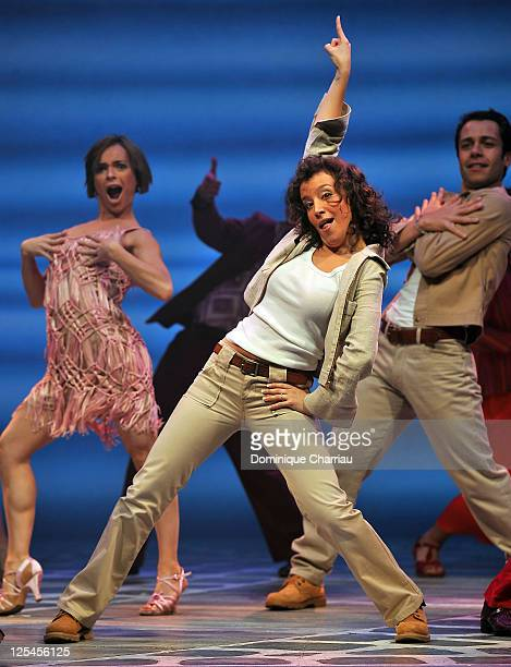 Gaelle Gauthier performs on stage during the MammaMia rehearsals at Theatre Mogador on October 27 2010 in Paris France