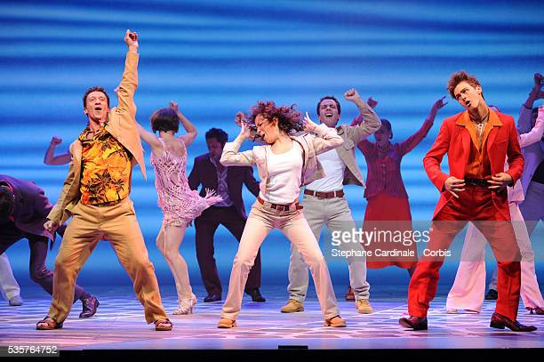 Gaelle Gauthier performs on stage during the MammaMia rehearsals at Theatre Mogador in Paris