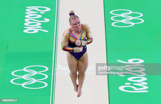 Gaelle Mys of Belgium competes on the vault during Women's qualification for Artistic Gymnastics on Day 2 of the Rio 2016 Olympic Games at the Rio...