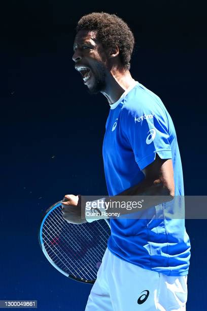 GaelMonfils of France celebrates winning a point in his Group C singles match against MatteoBerrettini of Italy during day two of the 2021 ATP Cup...