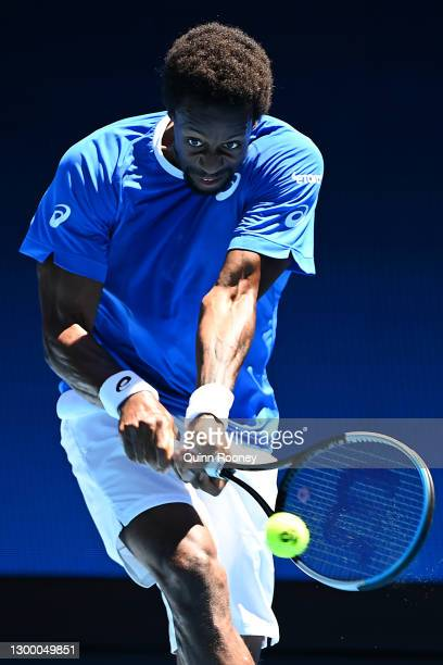 GaelMonfils of France plays a backhand in his Group C singles match against MatteoBerrettini of Italy during day two of the 2021 ATP Cup at John...