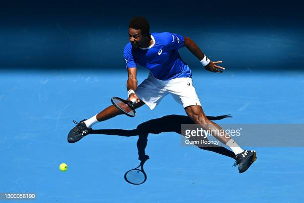GaelMonfils of France plays a forehand in his Group C singles match against MatteoBerrettini of Italy during day two of the 2021 ATP Cup at John...