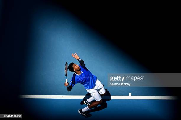GaelMonfils of France serves in his Group C singles match against MatteoBerrettini of Italy during day two of the 2021 ATP Cup at John Cain Arena...