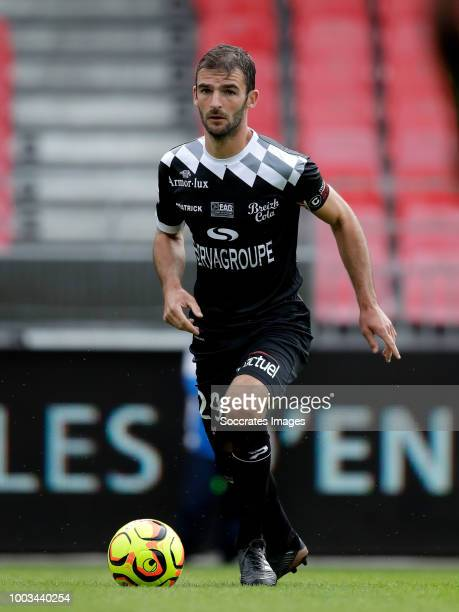 Gaetan Belaud of Brest Jeremy Livolant of Guingamp during the Club Friendly match between Brest v Guingamp at the Stade Francis Le Ble on July 21...