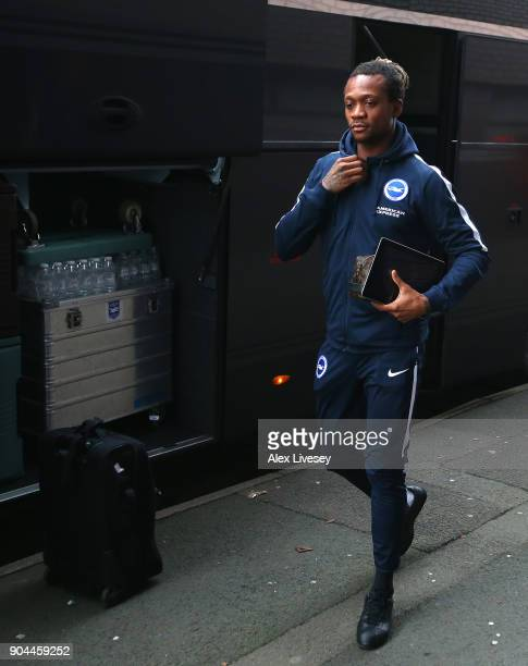 Gaetan Bong of Brighton and Hove Albion arrives prior to during the Premier League match between West Bromwich Albion and Brighton and Hove Albion at...