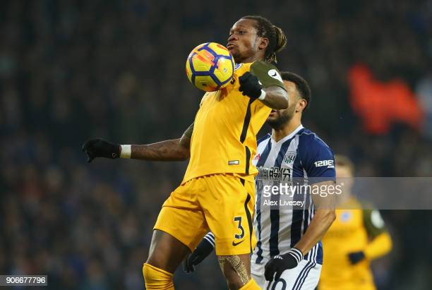 Gaetan Bong of Brighton and Hove Albion controls the ball during the Premier League match between West Bromwich Albion and Brighton and Hove Albion...