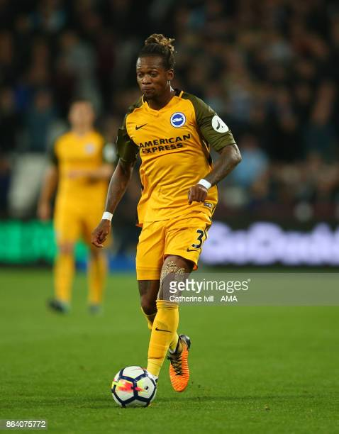 Gaetan Bong of Brighton and Hove Albion during the Premier League match between West Ham United and Brighton and Hove Albion at London Stadium on...
