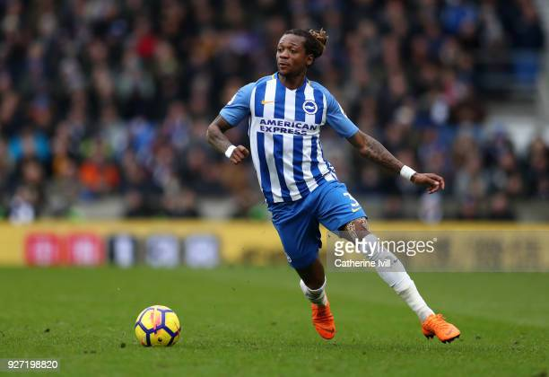 Gaetan Bong of Brighton and Hove Albion during the Premier League match between Brighton and Hove Albion and Arsenal at Amex Stadium on March 4 2018...