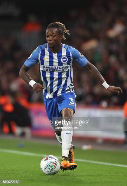 Gaetan Bong of Brighton and Hove Albion in action during the Carabao Cup Third Round match between Bournemouth and Brighton and Hove Albion at...