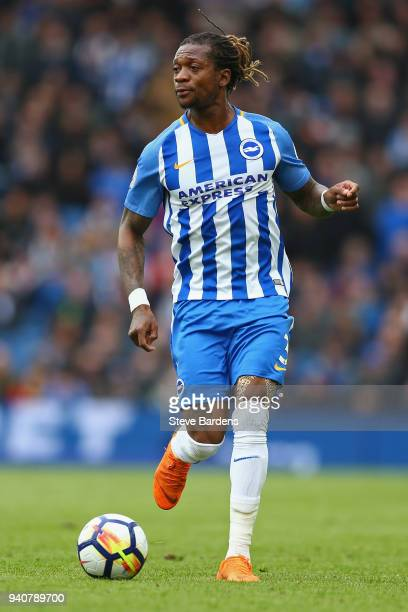 Gaetan Bong of Brighton and Hove Albion in action during the Premier League match between Brighton and Hove Albion and Leicester City at Amex Stadium...