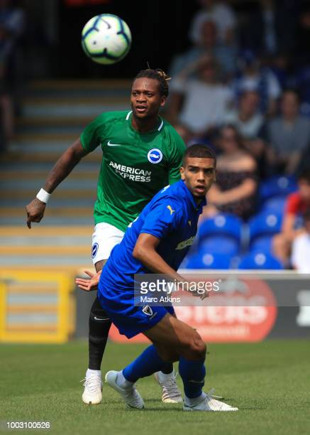 Detail of a Nike Merlin football at Cherry Red Records Stadium during the pre season friendly match between AFC Wimbledon and Brighton and Hove...