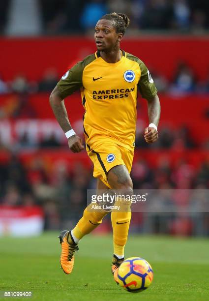 Gaetan Bong of Brighton and Hove Albion runs with the ball during the Premier League match between Manchester United and Brighton and Hove Albion at...