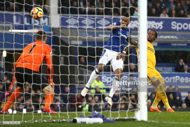 Gaetan Bong of Brighton and Hove Albion scores a own goal for Everton's first goal during the Premier League match between Everton and Brighton and...