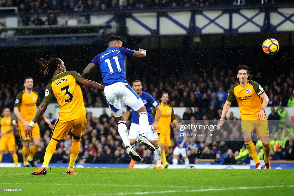 Gaetan Bong of Brighton and Hove Albion scores an own goal during the Premier League match between Everton and Brighton and Hove Albion at Goodison Park on March 10, 2018 in Liverpool, England.