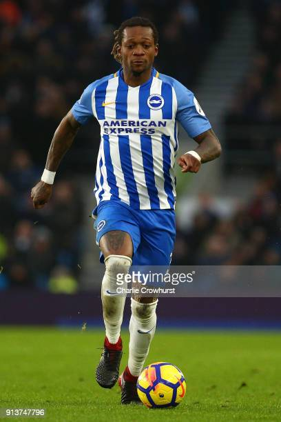 Gaetan Bong of Brighton during the Premier League match between Brighton and Hove Albion and West Ham United at Amex Stadium on February 3 2018 in...