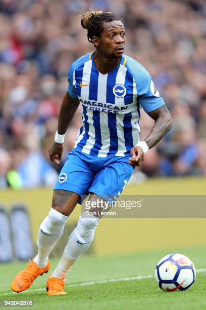 Gaetan Bong of Brighton Hove Albion in action during the Premier League match between Brighton and Hove Albion and Huddersfield Town at Amex Stadium...
