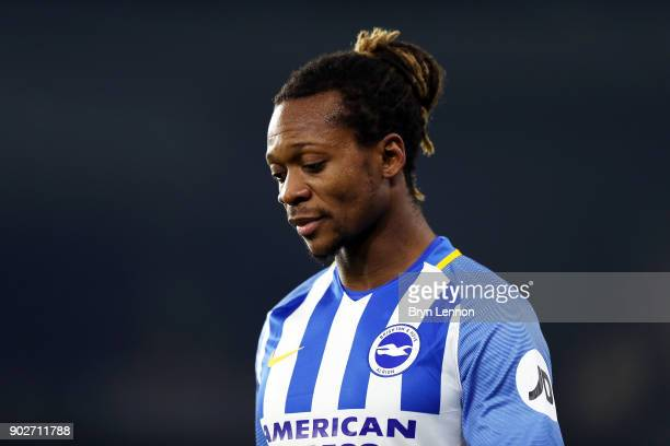 Gaetan Bong of Brighton Hove Albion looks on during The Emirates FA Cup Third Round match between Brighton Hove Albion and Crystal Palace at Amex...