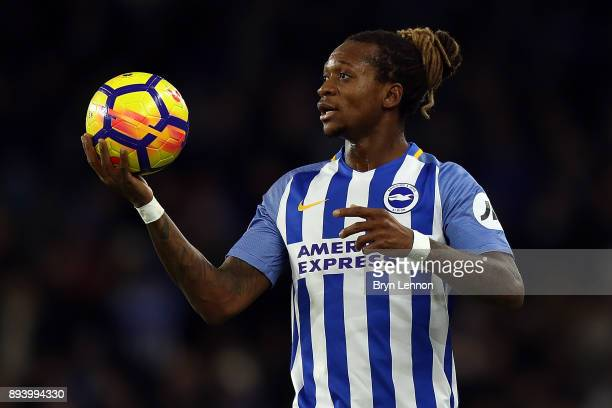 Gaetan Bong of Brighton Hove Albion looks on during the Premier League match between Brighton and Hove Albion and Burnley at Amex Stadium on December...