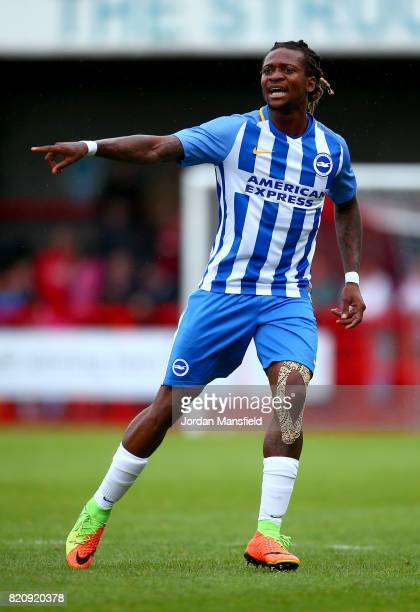Gaetan Bong of Brighton in action during the Pre Season Friendly match between Crawley Town and Brighton Hove Albion at Broadfield Stadium on July 22...
