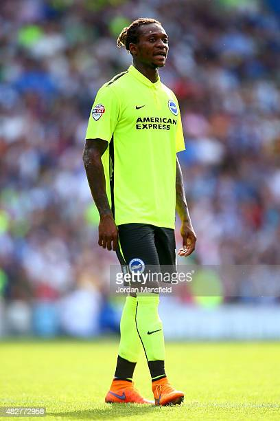 Gaetan Bong of Brighton looks on during the Pre Season Friendly between Brighton Hove Albion and Seville at Amex Stadium on August 2 2015 in Brighton...