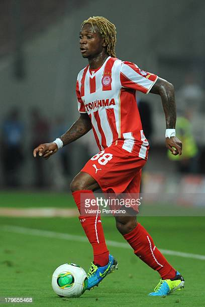 Gaetan Bong of Olympiacos FC in action during the greek Super League match between Olympiacos FC and Atromitos FC at Karaiskakis Stadium on August 25...