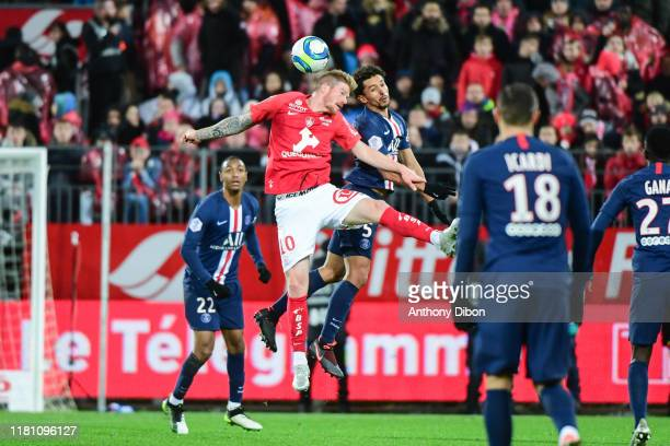 Gaetan CHARBONNIER of Brest and MARQUINHOS of PSG during the Ligue 1 match between Brest and Paris Saint Germain at Stade FrancisLe Ble on November 9...