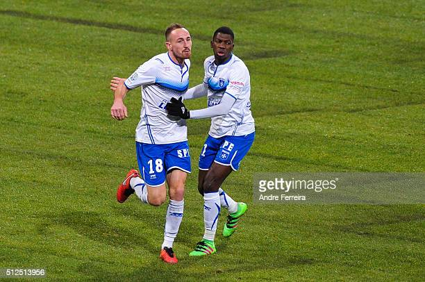 Gaetan Courtet of Auxerre and Adama Ba of Auxerre celebrate his goal during the French Ligue 2 match between Paris FC v Auxerre at Stade Charlety on...