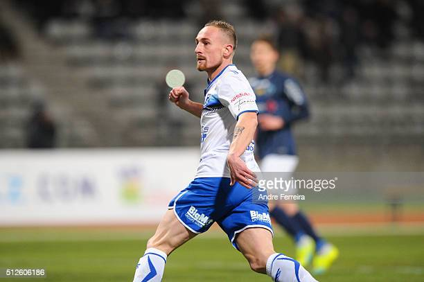 Gaetan Courtet of Auxerre during the French Ligue 2 match between Paris FC v Auxerre at Stade Charlety on February 26 2016 in Paris France