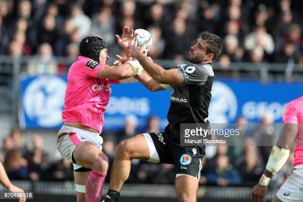 Gaetan Germain of Brive and Sergio Parisse of Stade Francais during the French Top 14 match between Brive and Stade Francais on November 5 2017 in...