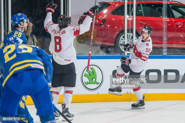 Gaetan Haas celebrates his goal with teammates during the Ice Hockey World Championship Quarterfinal between Switzerland and Sweden at AccorHotels...