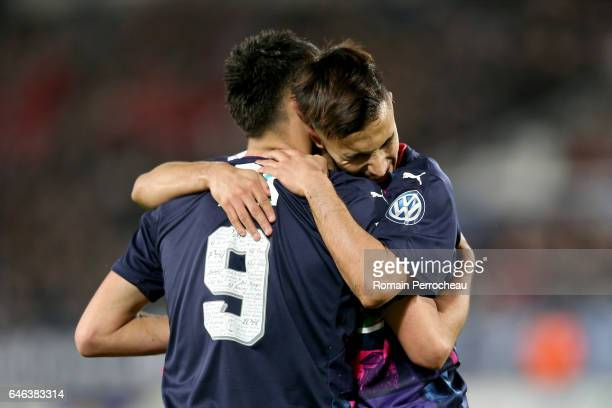 Gaetan Laborde and Adam Ounas of Bordeaux react after the second goal of Gaetan Laborde during a French cup match between Bordeaux and Lorient at...