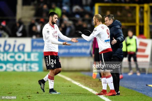 Gaetan Laborde and Martin Braithwaite of Bordeaux during the Ligue 1 match between Strasbourg and Bordeaux at on February 3 2018 in Strasbourg