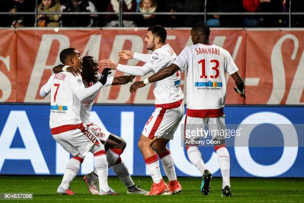 Gaetan Laborde and team of Bordeaux celebrates a goal during the Ligue 1 match between Troyes and Bordeaux on January 13 2018 in Troyes France