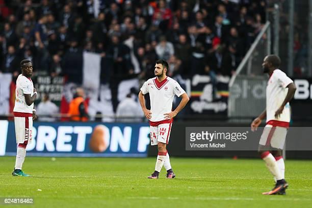 Gaetan Laborde of Bordeaux looks dejected during the Ligue 1 match between En Avant Guingamp and Girondins de Bordeaux at Stade du Roudourou on...