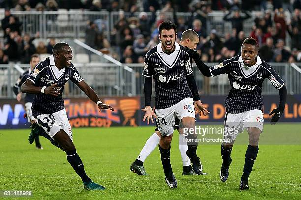 Gaetan Laborde of Bordeaux reacts after his goal during the French League Cup quarter finals match between Bordeaux and Guingamp at Stade Matmut...