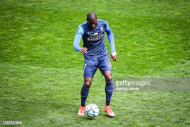 Gaetan LAURA of Paris FC during the Ligue 2 match between Paris FC and Troyes at Stade Charlety on April 10, 2021 in Paris, France.