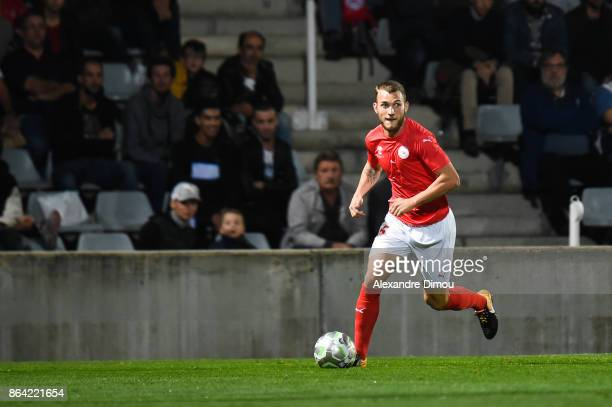 Gaetan Paquiez of Nimes during the Ligue 2 match between Nimes Olympique and Stade Brestois at on October 20 2017 in Nimes France
