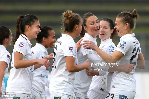 Gaetane Thiney celebrates during the Women's Division 1 match between Juvisy and Guingamp on May 6, 2017 in Evry, France.