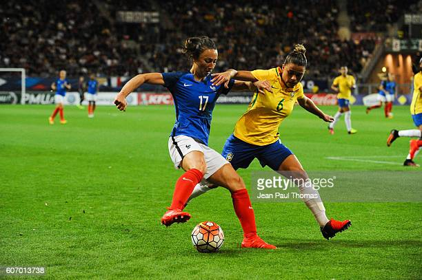 Gaetane THINEY of France and Tamires GOMES of France during the International friendly match between France women and Brazil women on September 16...