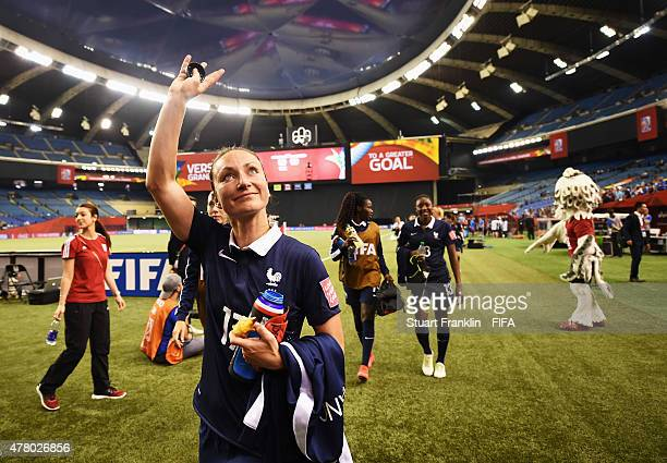 Gaetane Thiney of France celebrates at the end of the FIFA Womens's World Cup round of 16 match between France and Korea at Olympic Stadium on June...