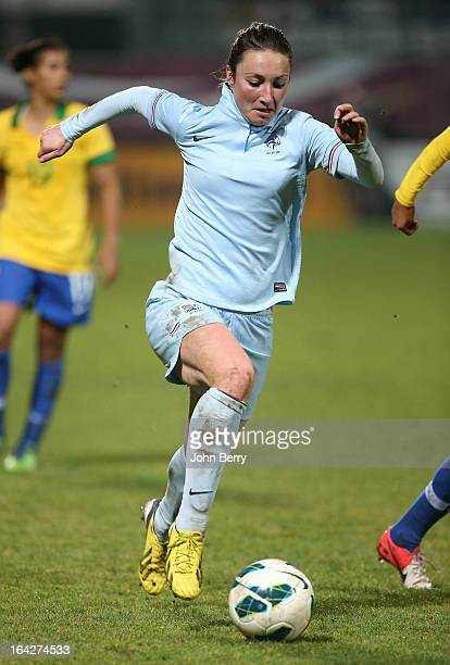 Gaetane Thiney of France in action during the women international friendly match between France and Brazil at the Robert Diochon stadium on March 9...