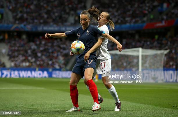 Gaetane Thiney of France is challenged by Kristine Minde of Norway during the 2019 FIFA Women's World Cup France group A match between France and...