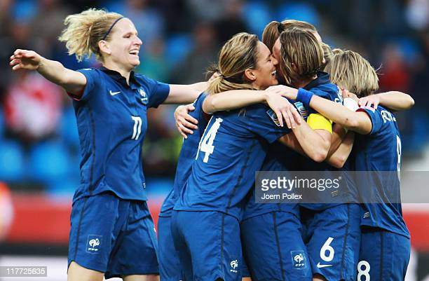 Gaetane Thiney of Francecelebrates with her team mates after scoring her team's second goal during the FIFA Women's World Cup 2011 Group A match...