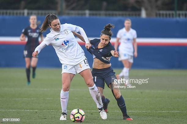 Gaetane Thiney of Juvisy and Veronica Buquete of PSG during the French Division 1 match between Paris Saint Germain and Juvisy at Camp des Loges on...