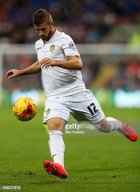 Gaetano Berardi of Leeds in action during the Sky Bet Championship match between Cardiff City and Leeds United at Cardiff City Stadium on November 1,...
