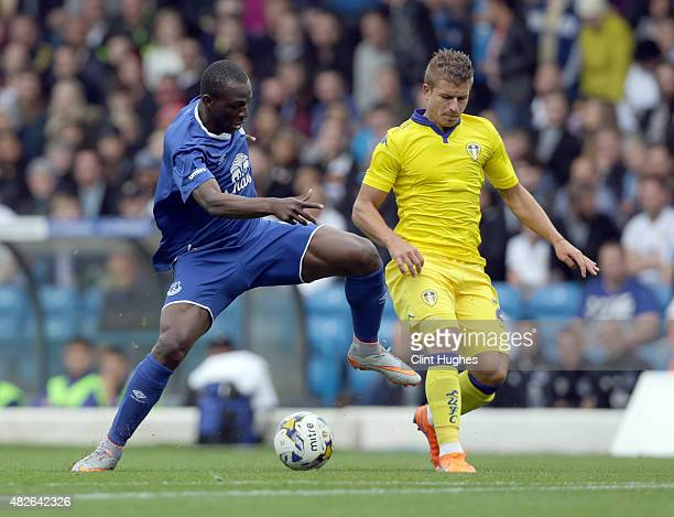Gaetano Berardi of Leeds United and Arouna Kone of Everton battle for the ball during the Pre Season Friendly match between Leeds United and Everton...
