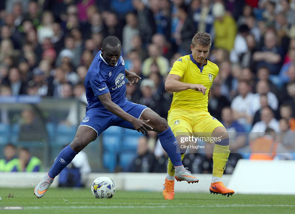 Gaetano Berardi (R) of Leeds United and Arouna Kone of Everton battle for the ball during the Pre Season Friendly match between Leeds United and Everton at Elland Road on August 1, 2015 in Leeds, England.