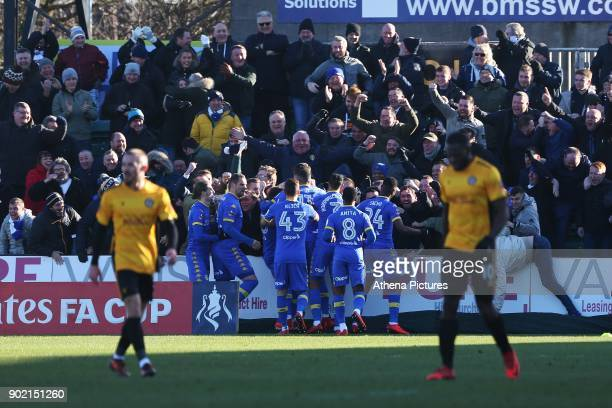 Gaetano Berardi of Leeds United celebrates scoring his sides first goal of the match during the Fly Emirates FA Cup Third Round match between Newport...