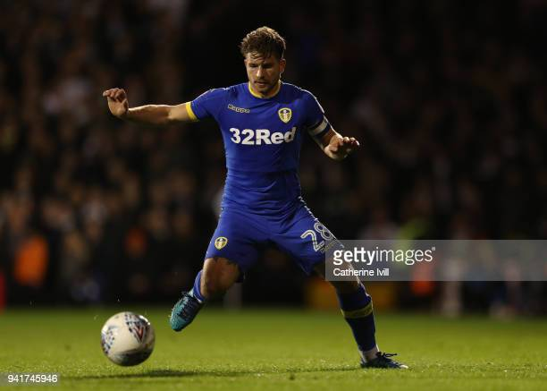Gaetano Berardi of Leeds United during the Sky Bet Championship match between Fulham and Leeds United at Craven Cottage on April 3 2018 in London...